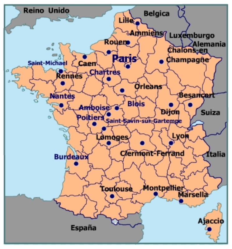 Mapa De Francia Ciudades.Mapa De Francia