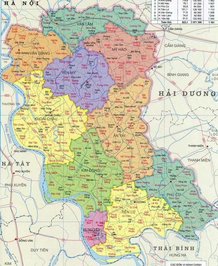 MAPA DE LA PROVINCIA HUNG YEN, VIETNAM